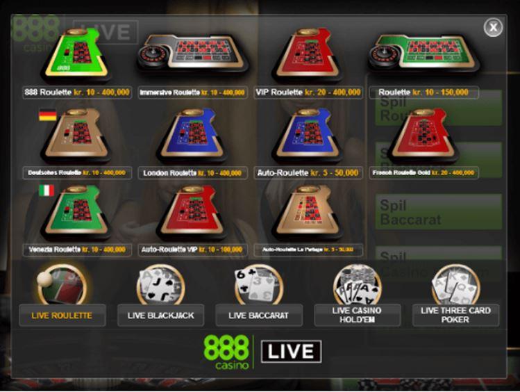 Prøv 888 Live Casino