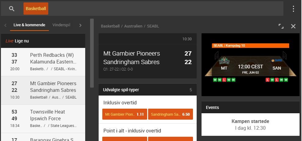 888sport live betting på basketball