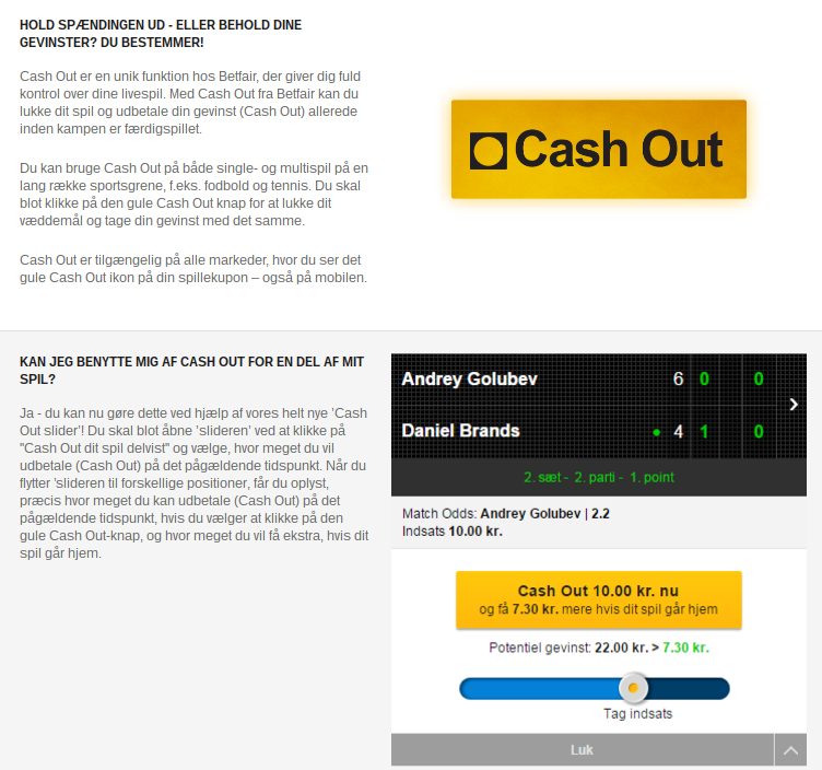 Prøv Betfair Cash Out