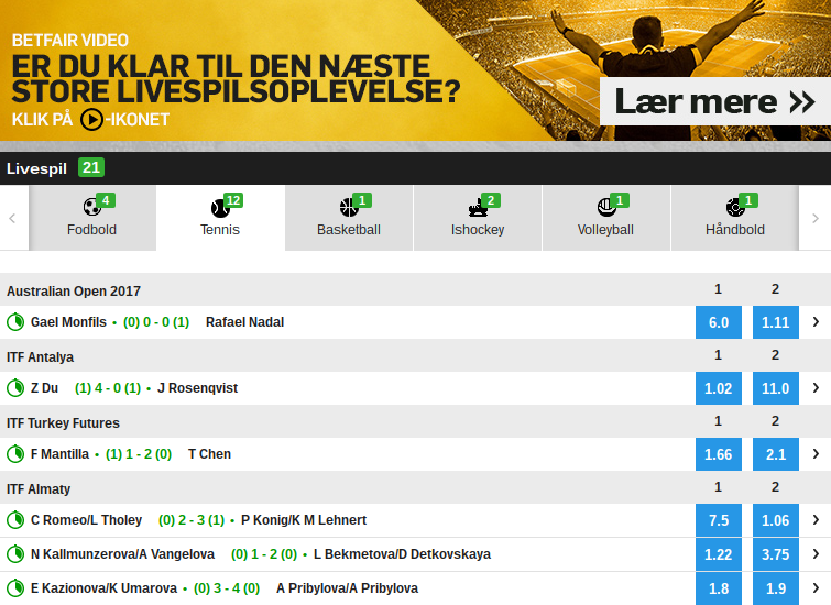 Betfair live betting markeder