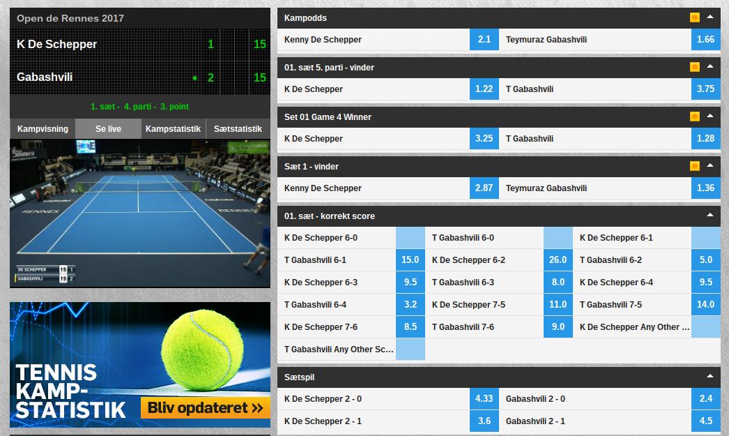 Betfair live streaming af tennis