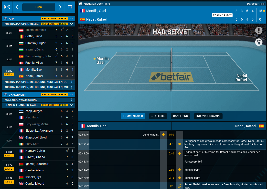 Betfair live tennis - live sportscenter