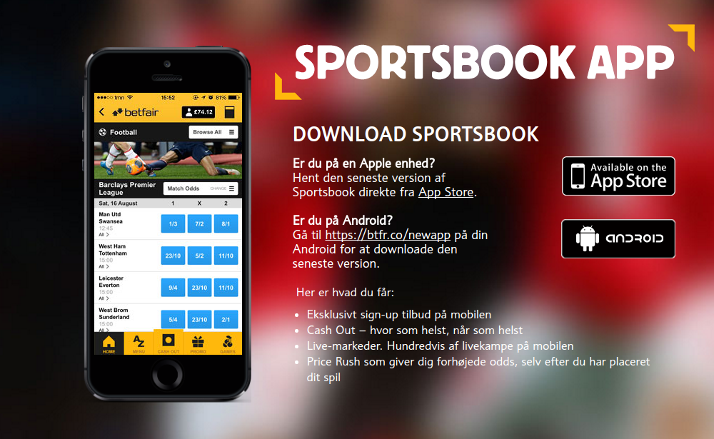 Prøv Betfair mobil live betting