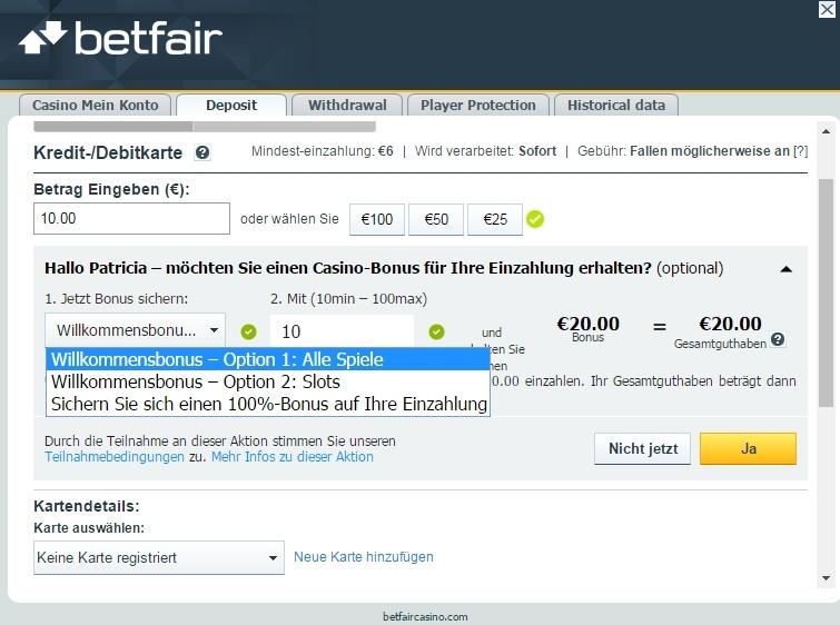 Betfair Einzahlung