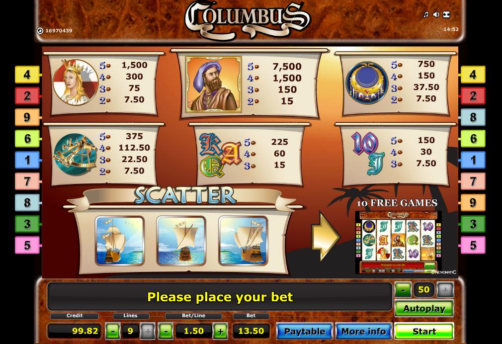 Columbus slot paytable