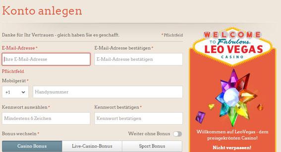 LeoVegas Registrierung