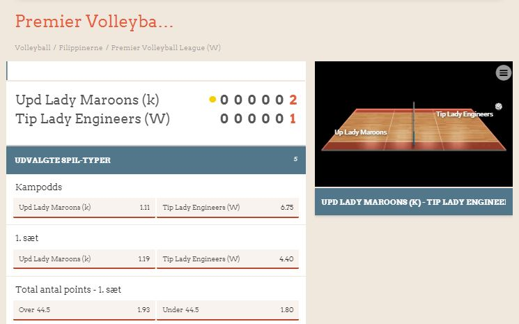 LeoVegas live betting på volleyball