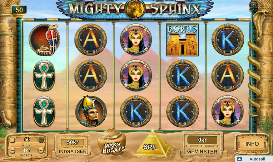 Spil Mighty Sphinx spilleautomat ved Karamba