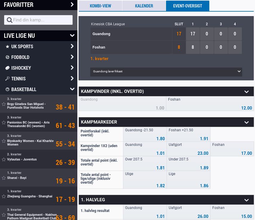 NordicBet live betting på basketball