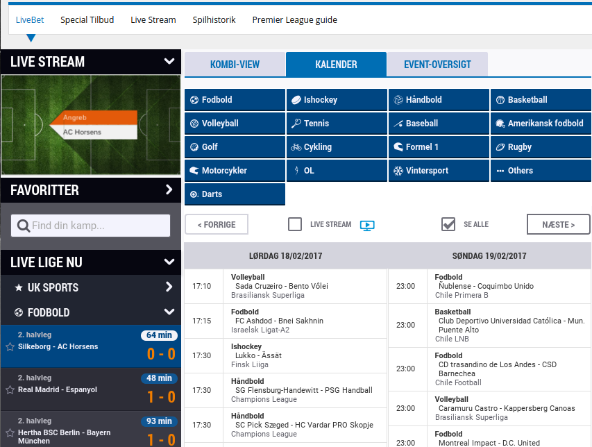 NordicBet live betting - udvalg