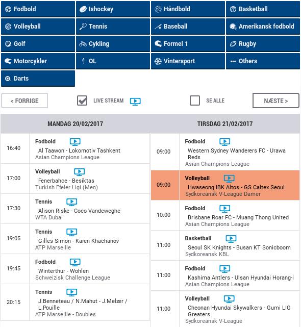 NordicBet live streaming kalender