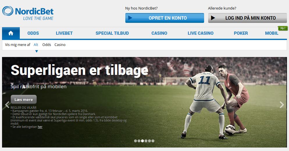 NordicBet's hjemmeside