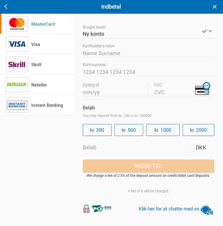 NordicBet indbetalinger