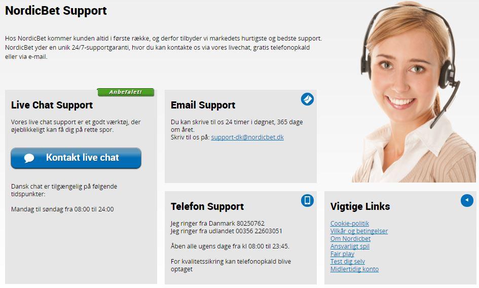 Kontakt NordicBet Danmark