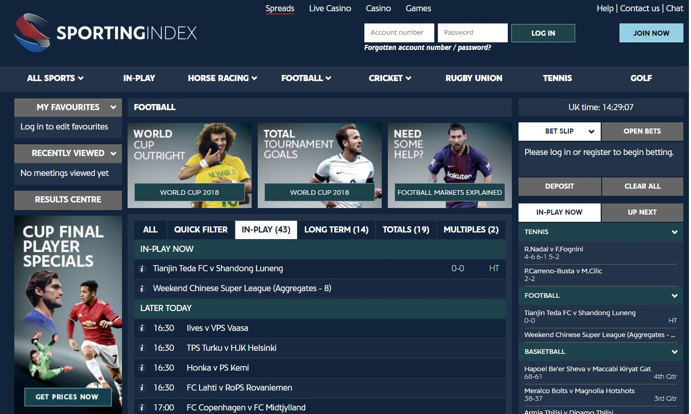Sportingindex football odds