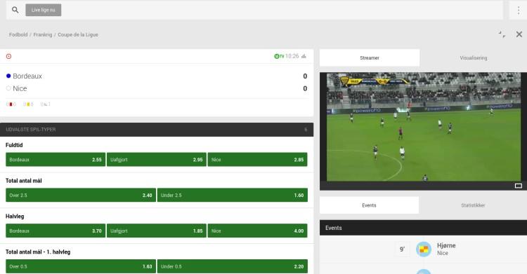 Se fodbold med Unibet live streaming