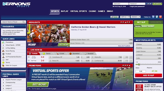 Vernons sports free bet how much to bet in sports betting