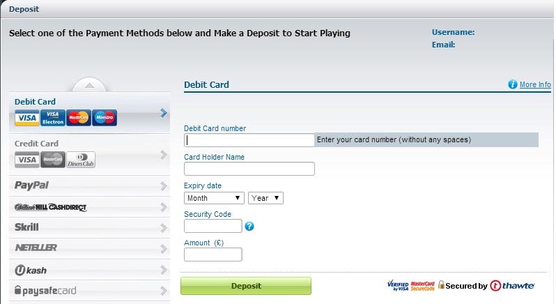 William Hill deposit