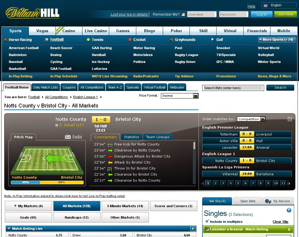 William Hill live betting