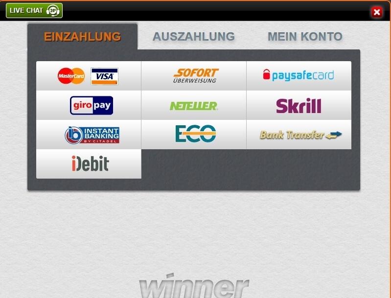 Winner Casino Einzahlung