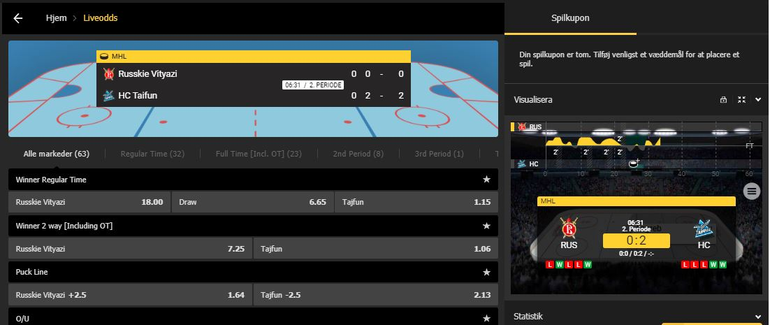 Bethard live betting på ishockey