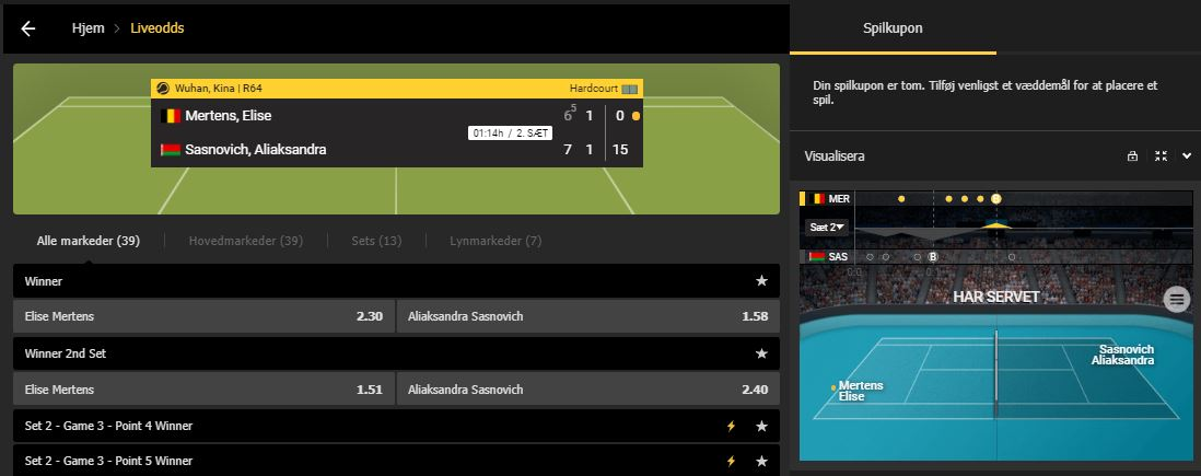 Bethard live betting på tennis