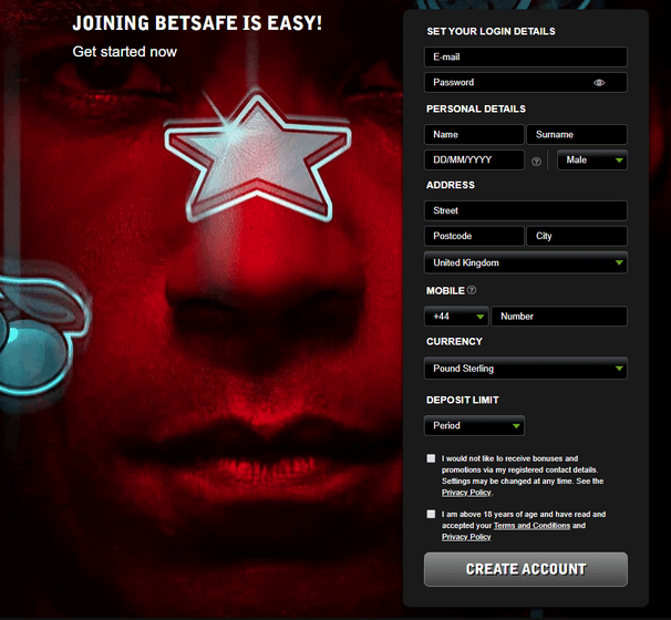 Betsafe Casino - Signup Form