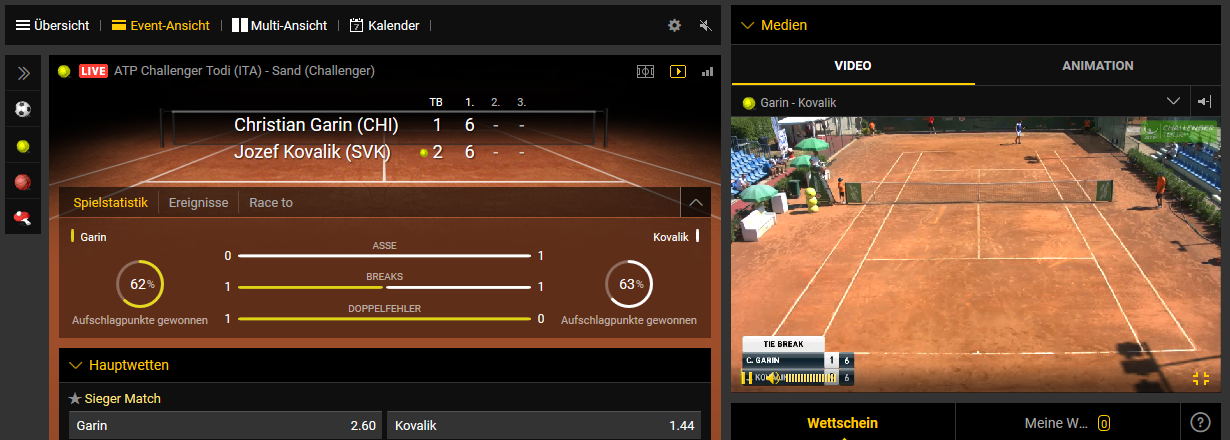 bwin Live Streaming Tennis