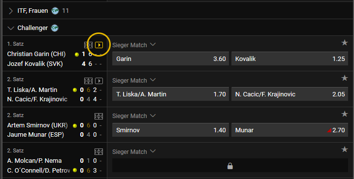 bwin Livestreaming Auswahl