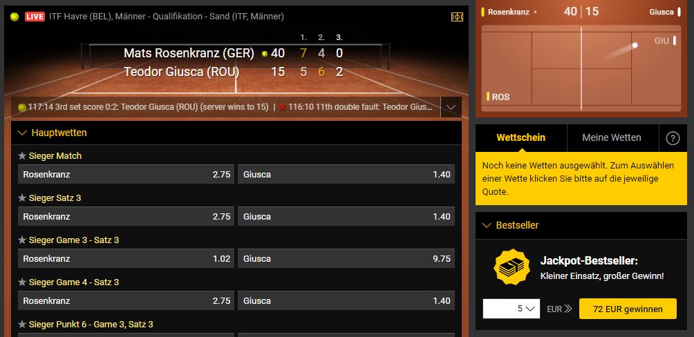 bwin Livewetten Tennis