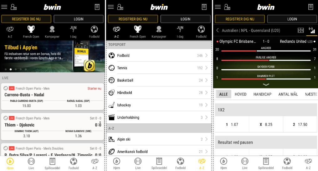 Prøv bwin mobil appen