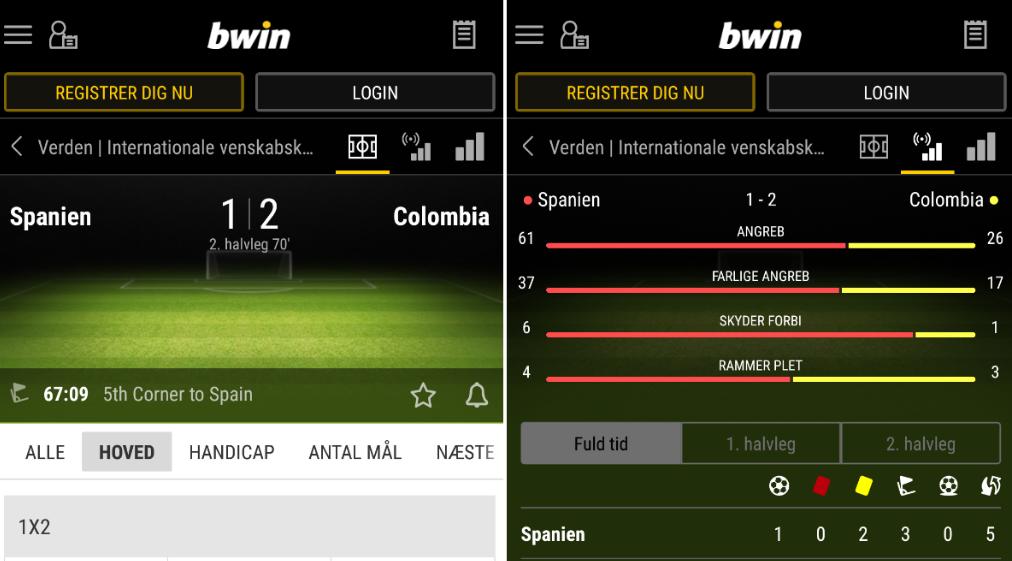 Prøv live betting via bwin mobil!