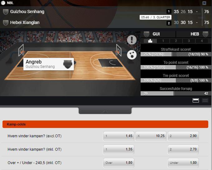 Cashpoint live betting på basketball