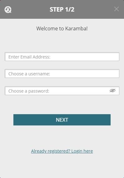 Karamba Casino signup page