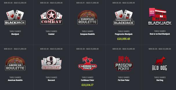 Casino Games at Matchbook Casino