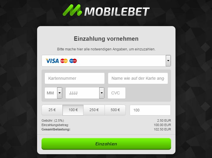 Mobilebet Einzahlung Kreditkarte