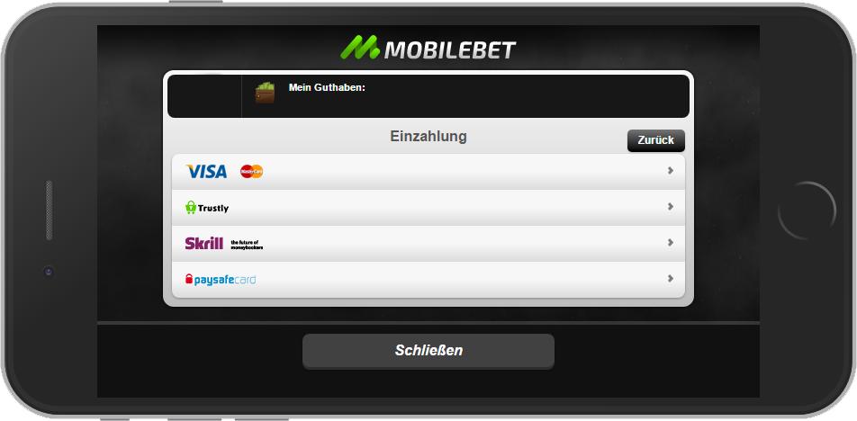 Mobilebet Mobile Einzahlung