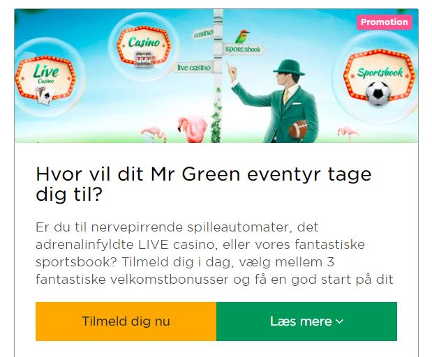 Få din Mr Green indbetalingsbonus!
