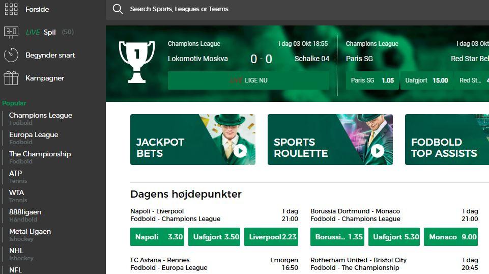 Mr Green Danmark's hjemmeside