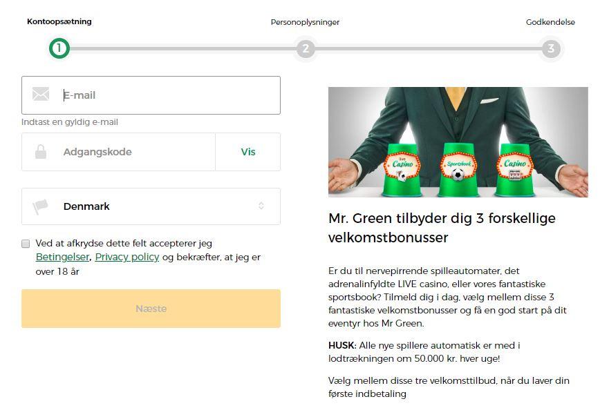 Opret din konto hos Mr Green sportsbook