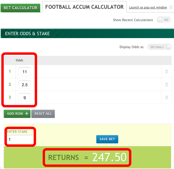 Paddy Bet Calculator