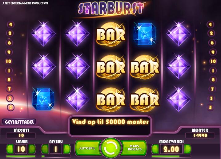 Spil Starburst spilleautomat ved Karamba