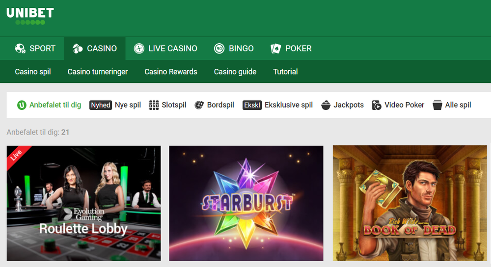 Spilleautomater hos Unibet Casino