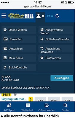 William Hill app einzahlung