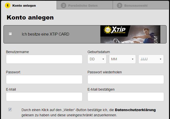 XTiP Registrierung